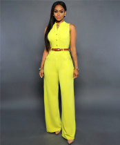 Yellow Single-breasted high-waist belted wide-leg pants jumpsuit