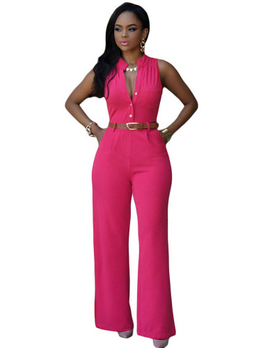 Rose red Single-breasted high-waist belted wide-leg pants jumpsuit