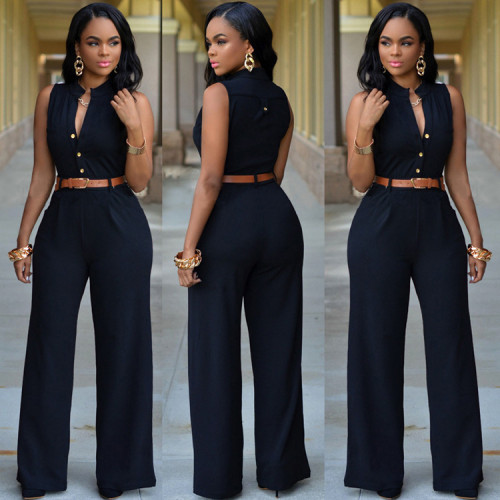 Black Single-breasted high-waist belted wide-leg pants jumpsuit