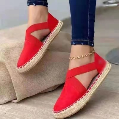 Red Straw flat elastic solid color twine sandals plus size women's shoes 40-43