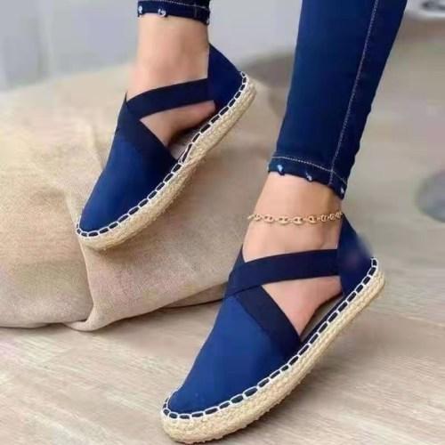 Bule Straw flat elastic solid color twine sandals plus size women's shoes 40-43
