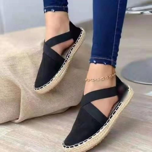 Black Straw flat elastic solid color twine sandals plus size women's shoes 40-43