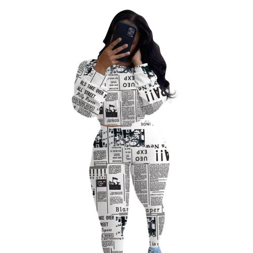 White One-neck printed newspaper long-sleeved two-piece suit