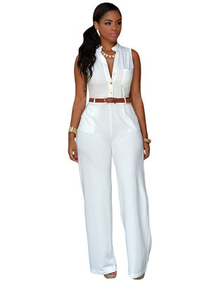 White Single-breasted high-waist belted wide-leg pants jumpsuit