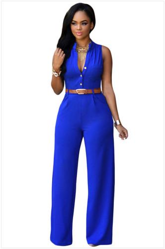 Bule Single-breasted high-waist belted wide-leg pants jumpsuit