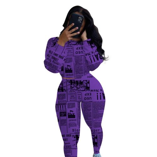 Purple One-neck printed newspaper long-sleeved two-piece suit
