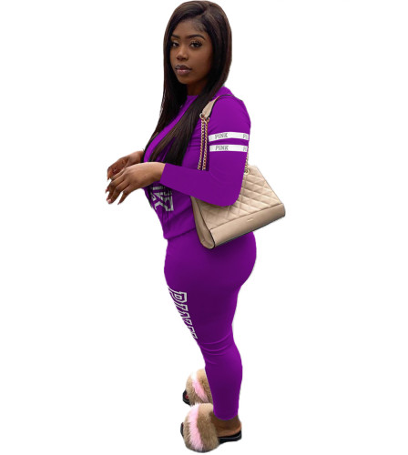 Violet Letter printing two-piece suit