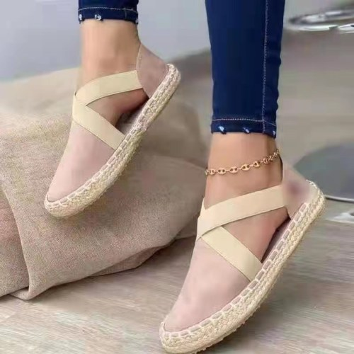 Pink Straw flat elastic solid color twine sandals plus size women's shoes 40-43