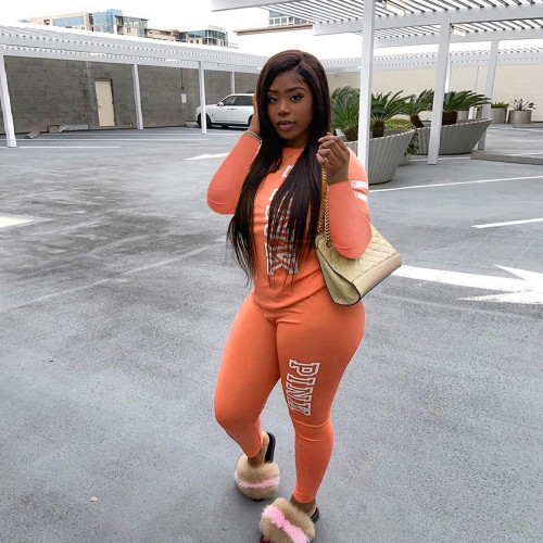 Orange Letter printing two-piece suit