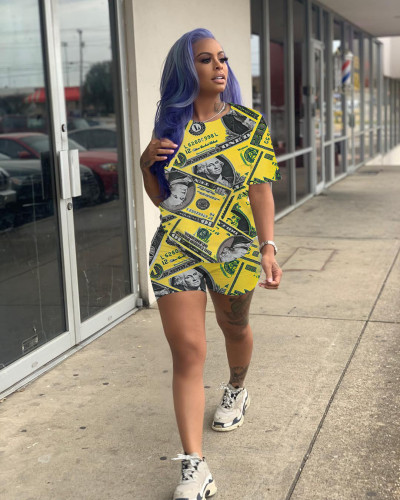 Yellow Personalized leisure printing two-piece suit