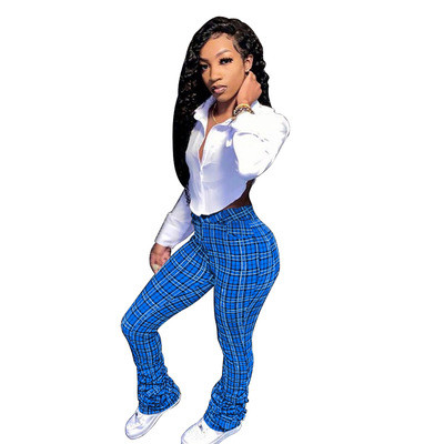 Bule Printed plaid pleated bootcut casual trousers
