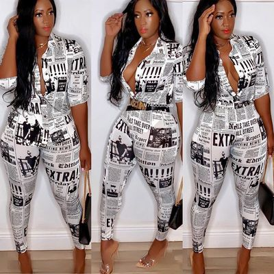 White Long-sleeved newspaper print shirt set