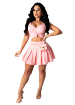 Pink Leisure sports two-piece skirt suit