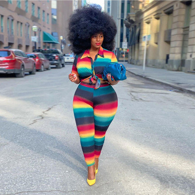 Fashion striped buttocks pencil pants suit two-piece suit