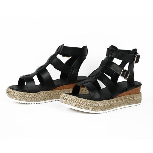 Black Women's sandals with flat buckle hemp rope