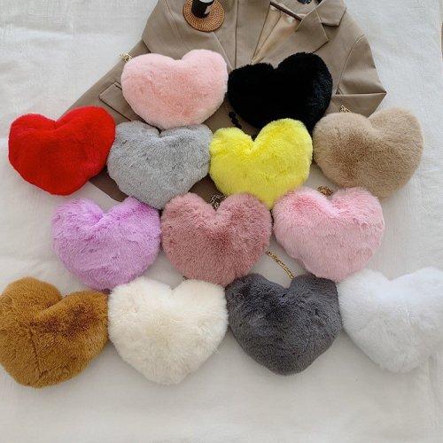 Heart-shaped bag female love one-shoulder chain plush messenger bag