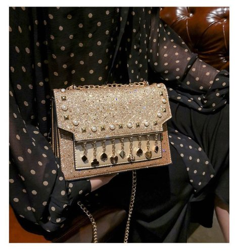 Sequined gradient chain crossbody shoulder small square bag
