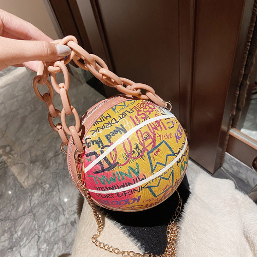Personalized painted graffiti chain small round bag