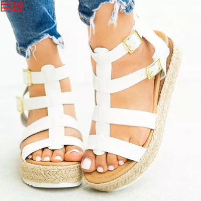 White Women's sandals with flat buckle hemp rope
