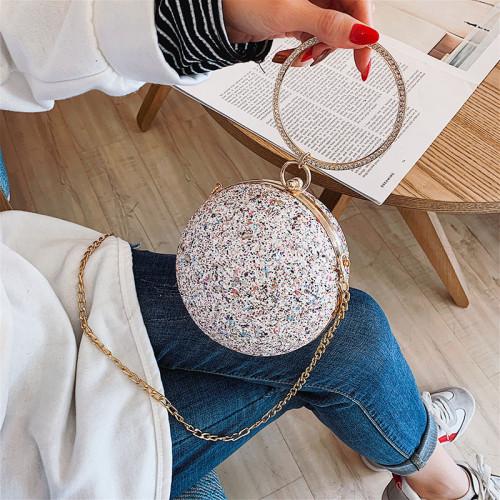 Temperament dinner bag simple one-shoulder messenger round handbag