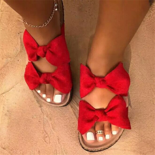 Red Bowknot flat sandals and slippers