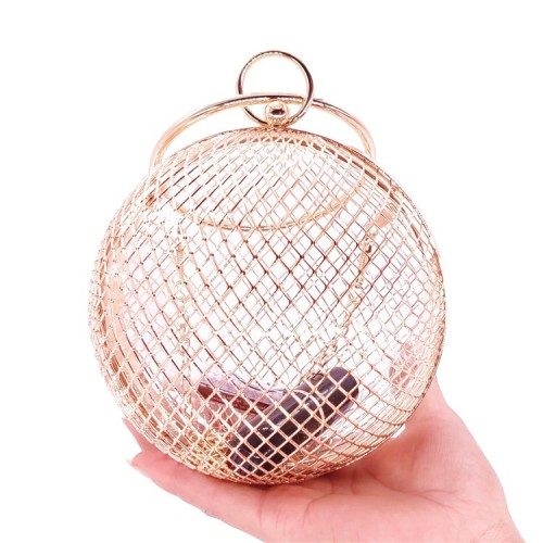 Metal hollow dinner bag mesh spherical handbag