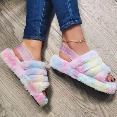 Color Sponge cake thick-soled one-word plush slippers women's elasticated foot cotton sandals and slippers