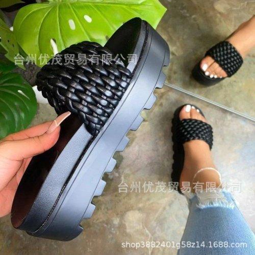 Black Platform flat sandals women's shoes