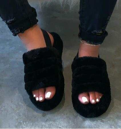 Black Sponge cake thick-soled one-word plush slippers women's elasticated foot cotton sandals and slippers