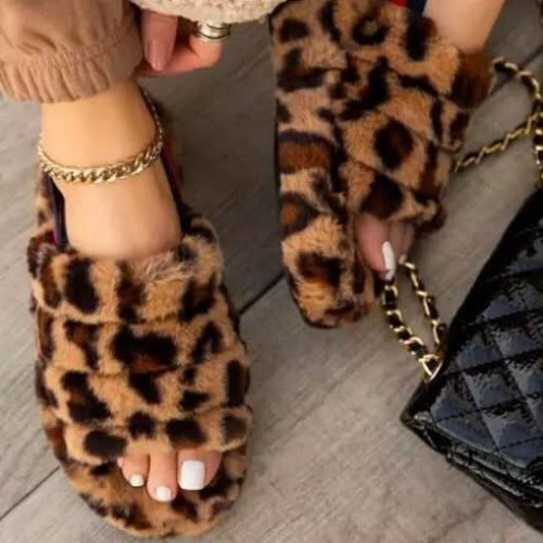Leopard Sponge cake thick-soled one-word plush slippers women's elasticated foot cotton sandals and slippers