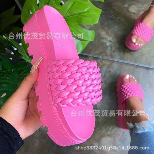 Pink  Platform flat sandals women's shoes