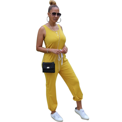 Yellow Sleeveless round neck solid color sporty ladies jumpsuit