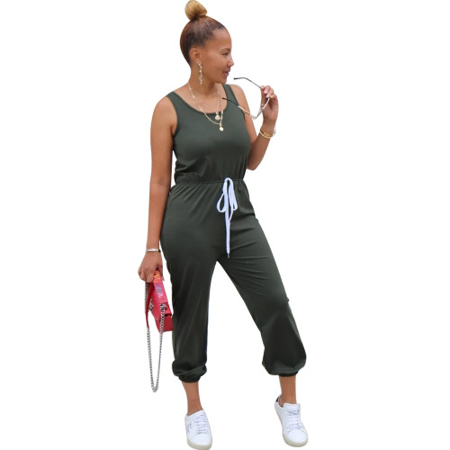 Dark green Sleeveless round neck solid color sporty ladies jumpsuit