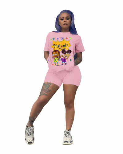 Pink Cartoon pattern trendy round neck short sleeve sports casual suit
