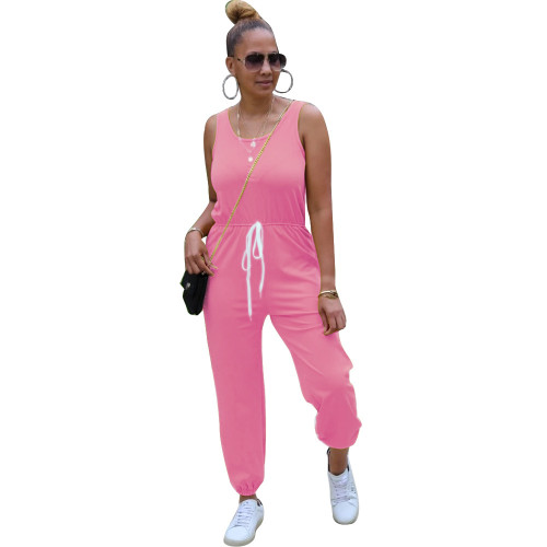 Pink Sleeveless round neck solid color sporty ladies jumpsuit