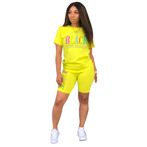 Yellow Printed two-piece fashion casual pants suit