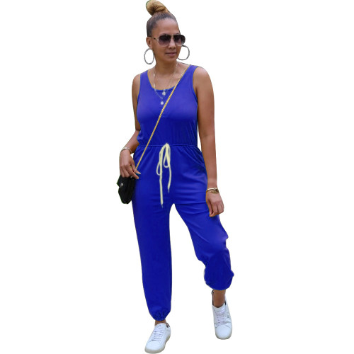 Bule Sleeveless round neck solid color sporty ladies jumpsuit