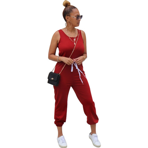 Red Sleeveless round neck solid color sporty ladies jumpsuit