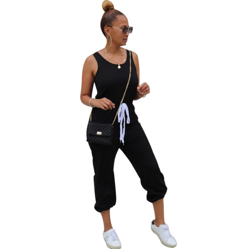 Black Sleeveless round neck solid color sporty ladies jumpsuit