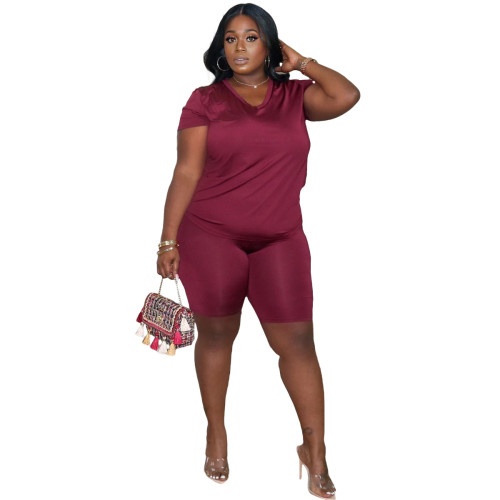 Claret Women's printed plus size 5XL casual suit