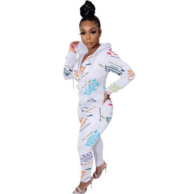 White Fashion printed letters zipper sweatshirt sports suit