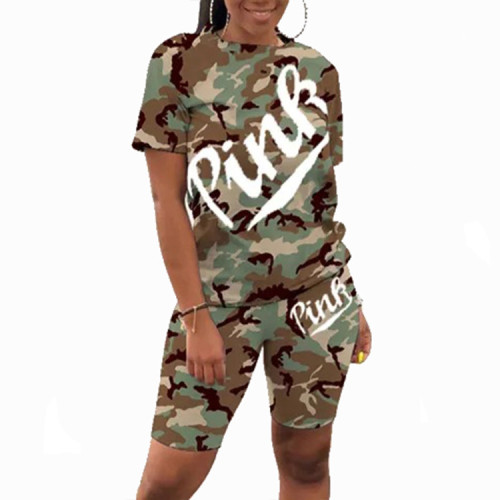 Army green  Casual letter camouflage print round neck short sleeve two-piece suit