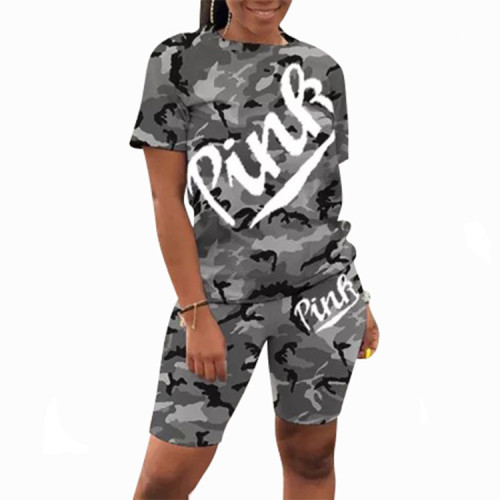 Gray Casual letter camouflage print round neck short sleeve two-piece suit