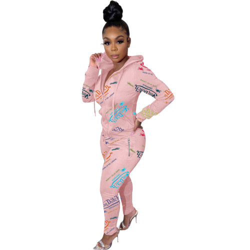 Pink Fashion printed letters zipper sweatshirt sports suit