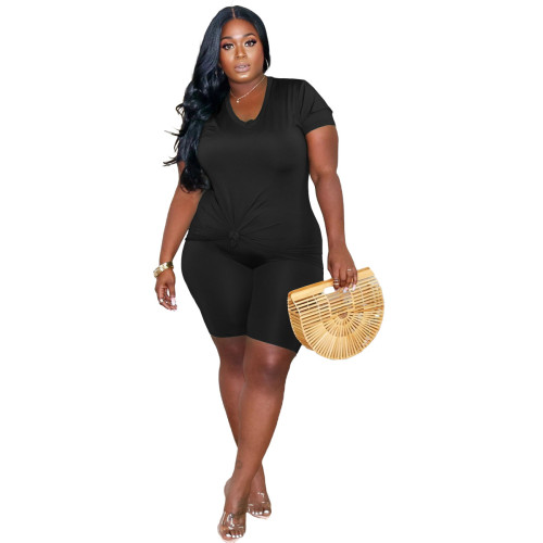 Black Women's printed plus size 5XL casual suit