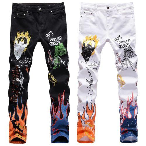 Black Stretch color printing black and white trousers skull graffiti men's jeans