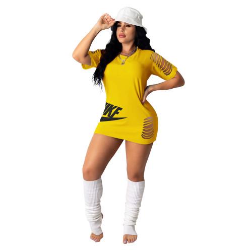 Yellow Burnt flower dress embroidered skirt short skirt