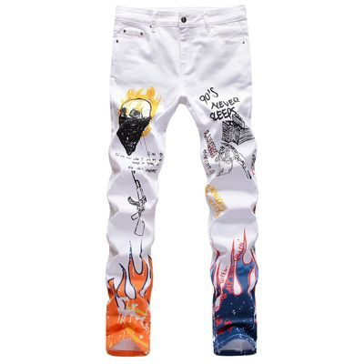 White Stretch color printing black and white trousers skull graffiti men's jeans