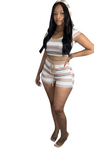 Coffee Striped hooded short-sleeved top and shorts set