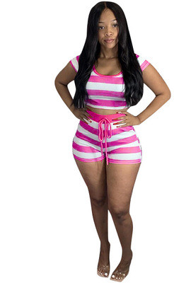 Red Striped hooded short-sleeved top and shorts set